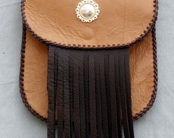 Leather Snap On Hip Bag with Brown Fringe