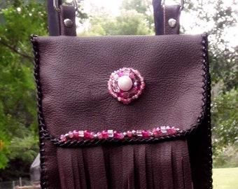 Womens Burgundy Snap Hip Bag