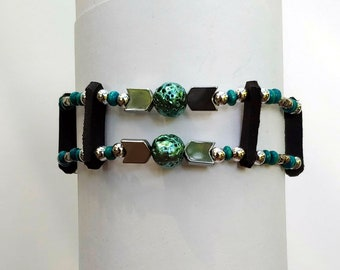 Lady's Bead Bracelet to Match Turquoise Bead Vest Extenders