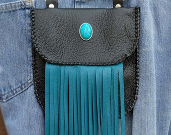 Leather Snap On Hip Bag Black with Turquoise Fringe