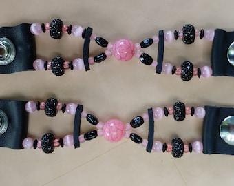 Lady's Pink & Glitter Black Bead Vest Extenders
