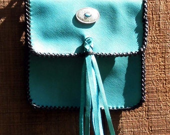 Turquoise Leather Snap on Hip Bag