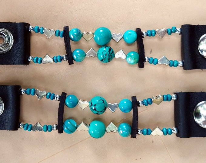 Womens Turquoise & Heart Bead Motorcycle Vest Extenders