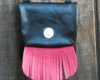 Handmade Leather Cross Body Bag with Hot Pink Fringe
