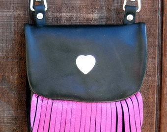 Handmade Leather Snap on Motorcycle Hip Bag with Metallic Pink Fringe and Optional Cross Body Strap