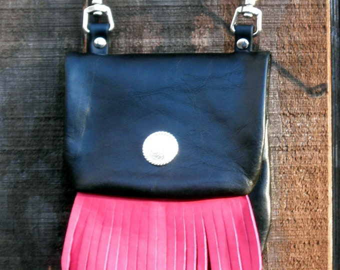Handmade Leather Snap on Motorcycle Hip Bag with Hot Pink Fringe and Optional Cross Body Strap
