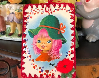 Crochet Vintage Post Card Ornament / Tag / Bookmark - Big Eye Groovy Girl With Hearts - Red Edge