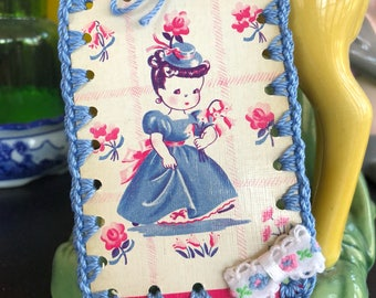 Crochet Ornament / Tag / Book Mark - Vintage Playing Card - Flower Girl in Blue