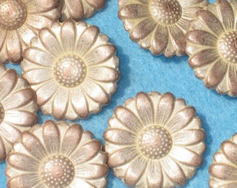 Set 12 DAISY vintage FLOWER Buttons Copper Silver metal