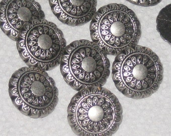 "Fancy FLOWER Set 12 Vintage Antiqued SILVER Metal new buttons 3/4"""