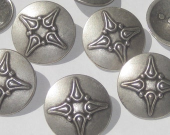 """FANCY set 7 vintage new Antiqued SILVER Metal buttons with shank 28.5mm 1 & 1/8"""" Large"""