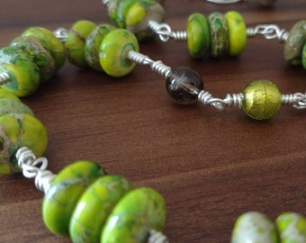 "Long 26.5"" Opera Length Handmade Green Sterling Silver Beaded Necklace Yellow Green Variscite Sea Sediment Jasper Smoky Quartz Murano Glass"