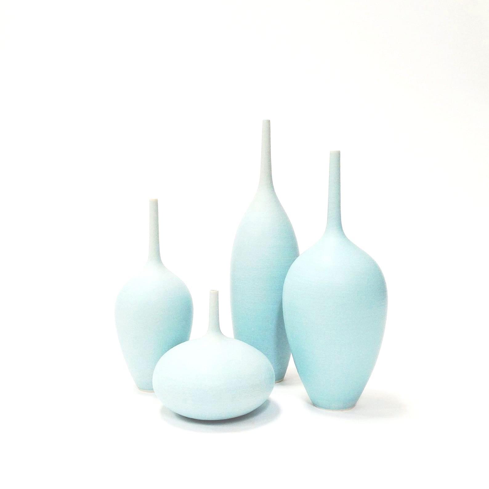 sky blue vases