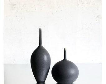 SHIPS NOW- Seconds Sale- 2 Ceramic Stoneware Bottle Vases glazed in dark Slate Matte by Sara Paloma Pottery