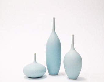MADE TO ORDER - 3 medium stoneware bottle vases in ice blue matte by sara paloma.  Light blue ceramics and pottery bud vase palomas