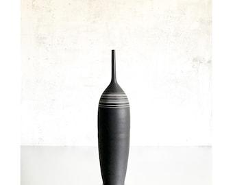 "SHIPS NOW-   17.5"" tall Stoneware Bottle Vase with white stripes by Sara Paloma Pottery"