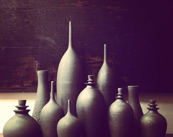 MADE TO ORDER- Grand Collection of Slate Bottle Ceramic Vases by Sara Paloma. modern pottery and ceramics white mid century vase tabletop