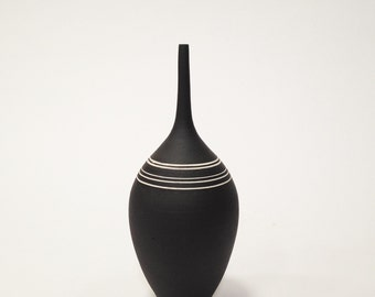 MADE TO ORDER- one medium black bottle vase with white stripes by sarapaloma.  black and white modern ceramic pottery vase handmade clay pot