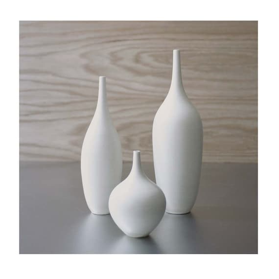 Ships In 2 3 Weeks Trio Of Pure White Ceramic Bottle Vases In Etsy