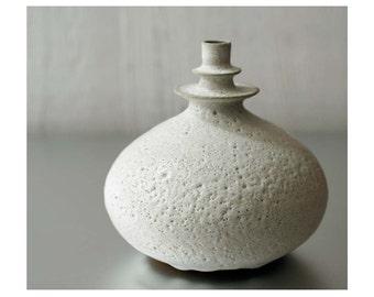 MADE TO ORDER- One Large Ceramic Double Flanged Rotund Vase in Beach Stone White by Sara Paloma. white modern vase pottery bud vase