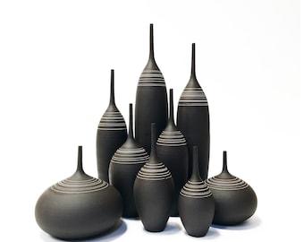 SHIPS NOW- set of 2 Ceramic Stoneware Bottle Vases, Raw Unglazed Black Clay with Inlaid White Porcelain Stripes by Sara Paloma Pottery