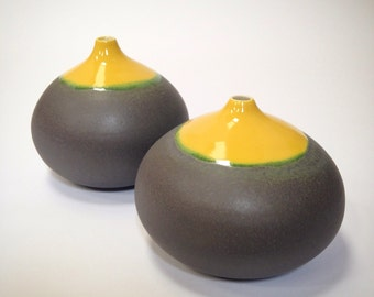 MADE TO ORDER~  1 stoneware droplet vase in Yellow gloss and Slate matte by sara paloma