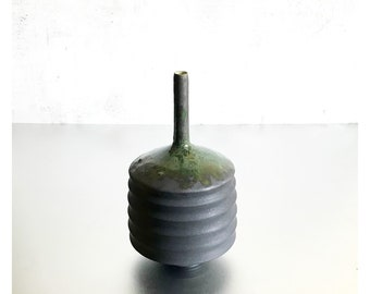 """SHIPS NOW- One 10"""" tall Stoneware Aspirator Vase in Slate Matte Black with Green Gloss Flashing at the top by Sara Paloma Pottery"""