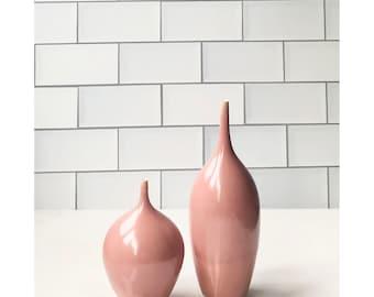 SHIPS NOW- set of 2 small stoneware bud vases in dark dusty rose gloss glaze by Sara Paloma pottery