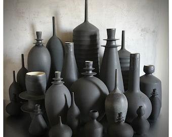 SHIPS NOW-  set of 3 Large Ceramic Stoneware Vases Glazed in a Dramatic Slate Matte Black by Sara Paloma Pottery. tabletop + floor vase onyx