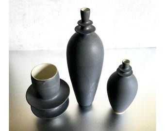 SHIPS NOW- 3 Slate Matte Stoneware Handmade Ceramic Flanged Vases by Sara Paloma Pottery. minimal industrial modern bud vase black matte