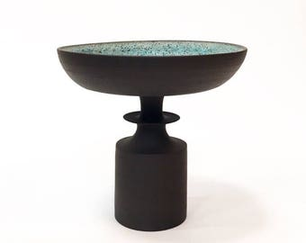 Made To Order-  one Finial Riser footed bowl-black clay with blue texture glaze by sarapaloma