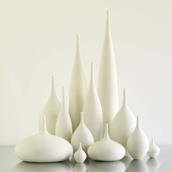 Grand Collection Of 12 Modern White Matte Ceramic Vases By Etsy