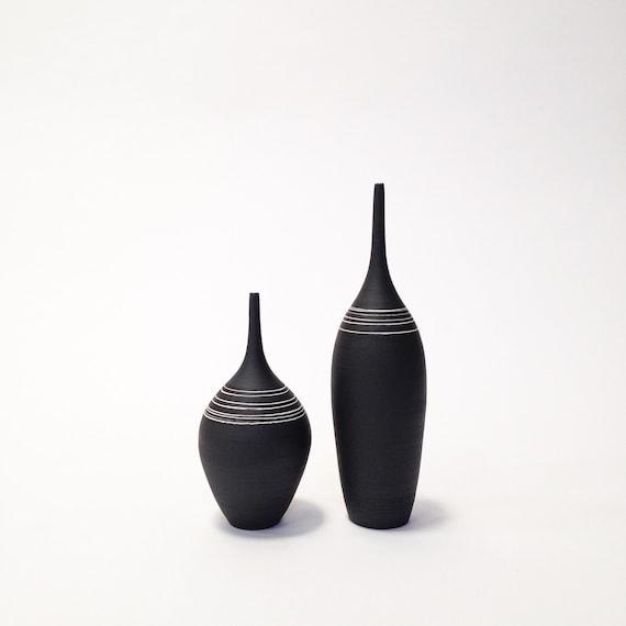 Made To Order 2 Medium Black And White Striped Ceramic Etsy