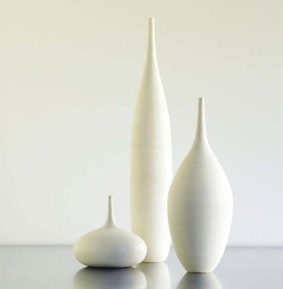 3 Large White Modern Ceramic Bottle Vases In Modern White Etsy