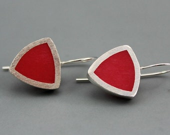 Stylish Red Triangle Sterling SIlver Earrings