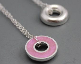 Argentium Silver and Resin Donut Pendant