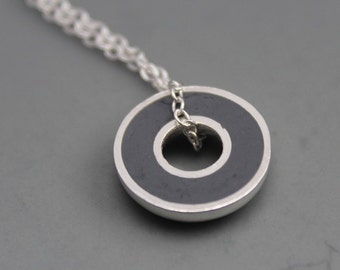 Argentium Silver and Grey Resin Donut Pendant