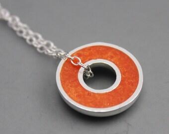 Argentium Silver and Orange Resin Donut Pendant