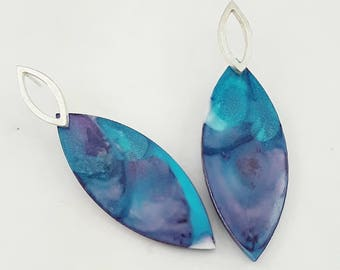 Marquis sterling silver and resin earrings