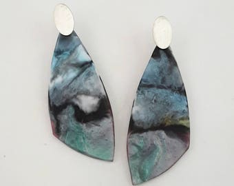 Long drop resing and sterling silver earrings