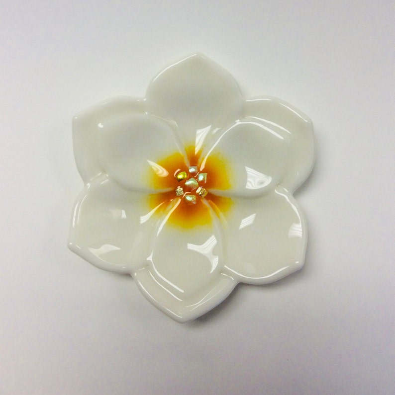 Fused Glass Cream Magnolia Flower Trinket DishRing DishSoap Dish