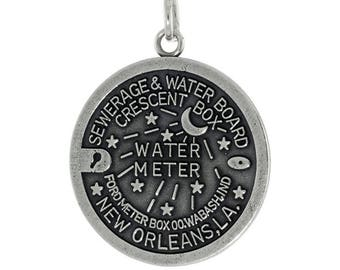Sterling Silver New Orleans Water Meter Cover Charm