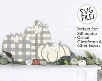 3D Pumpkins Laser Cut Files   Plaid Autumn SVG   Fall Pumpkin Decor   Farmhouse Glowforge Cutting File   Halloween Harvest SVG File