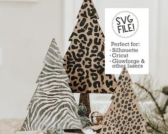 Animal Print Trees SVG | Cheetah Christmas Cut File | Leopard Forest Laser File | Glowforge Zebra Print | Christmas Tree Pattern File | Farm