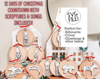 Christmas Nativity Countdown SVG | Nativity Ornaments | Family Tradition Activity | Glowforge Laser Pattern File | Folk Art Nordic Scandi
