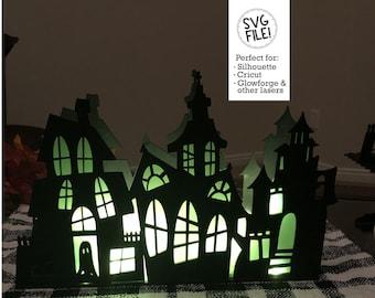 Triple Haunted House SVG Box | Light Up Box Template | Halloween Cut File | Glowforge Laser Template | Spooky Wood Decoration | Windows