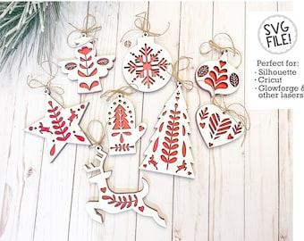 Folk Art Ornaments SVG File | Christmas Cut Pattern | Star Heart Tree Angel Decor | Nordic Style Hygge | Glowforge Laser Cut File | Set of 8