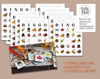 Thanksgiving BINGO SVG   Laser File Pattern   Printable Game Cards   Glowforge Engraving   Classroom Kids Children Party   Fun Activity