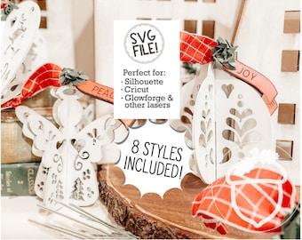 Folk Art Ornaments File | Set of 8 | SVG Pattern | Nordic Hygge Scandinavian | 3D Glowforge Christmas | Simple Easy Holiday Decor | Gift