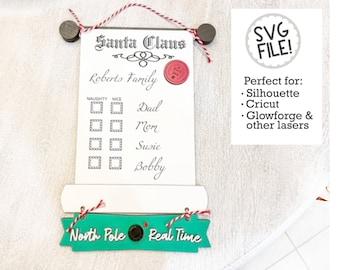 Santa's List SVG | Santa Cam File | Dry Erase Naughty Nice | Glowforge Laser Pattern | North Pole | Christmas Decoration | Personalized
